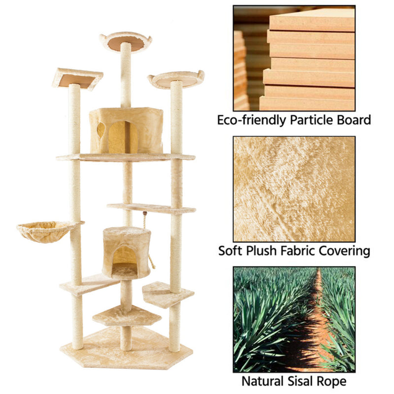 Solid Cute Sisal Rope Plush Cat Climb Tree Cat Tower, 80 inches