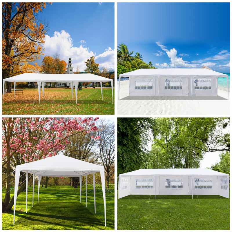 Homhum Waterproof Canopy Tent 10 x 30 ft Five Sides with Spiral Tubes for BBQ Wedding, White