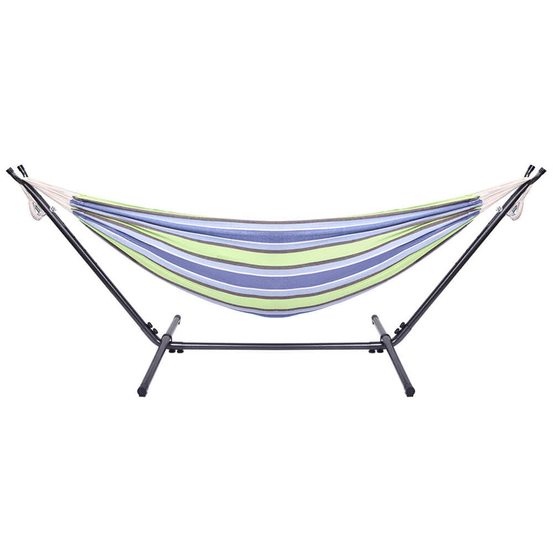 Portable Outdoor Polyester Hammock Set, Green