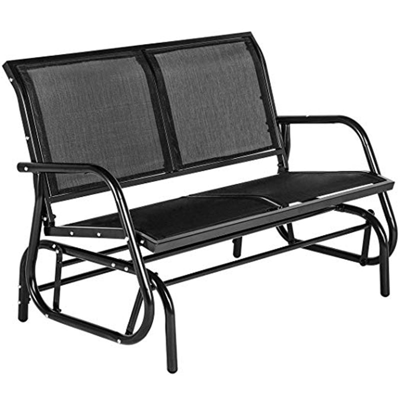 2 Seats Outdoor Swing Glider Loveseat Chair with Powder Coated Steel Frame