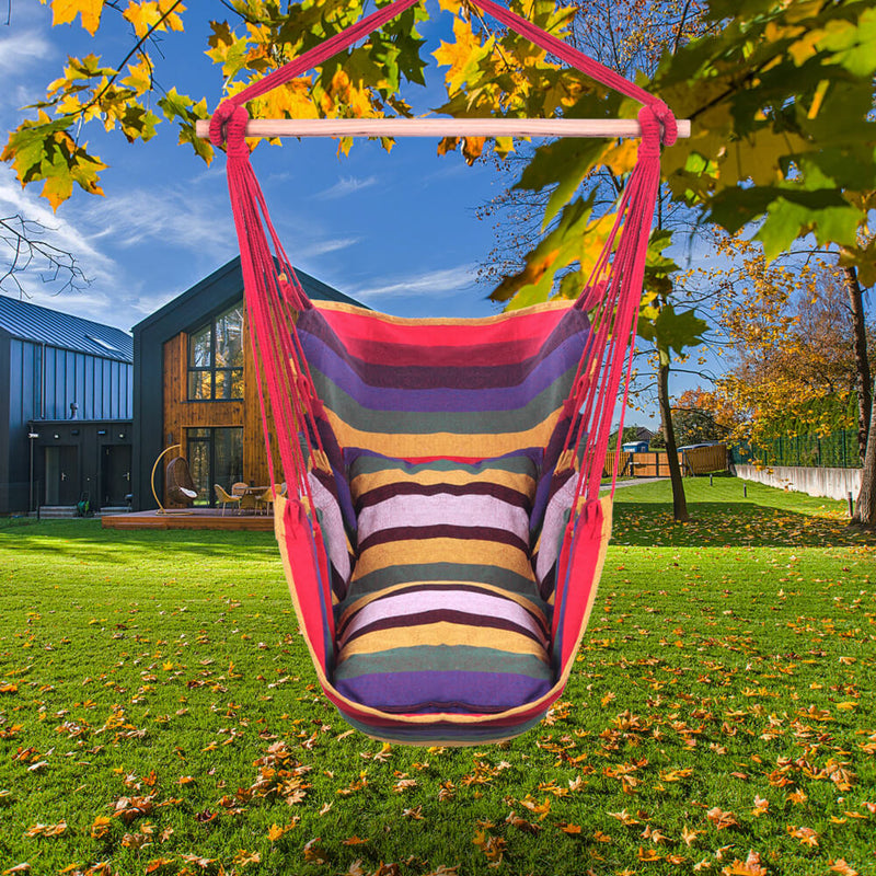 Patio Hammock Swing, Hanging Rope Hammock Chair, Cotton Hanging Air Swing with Cushions for Porch Yard Tree Bedroom