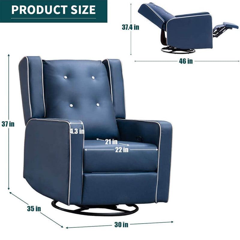 360-Degree Swivel Gliding Recliner,Leathaire Upholstered Recliner Blue
