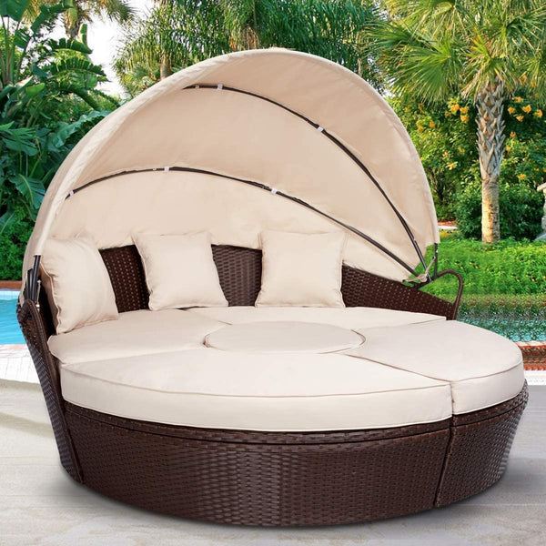 Outdoor Round Daybed with Retractable Canopy, Patio Round Chaise Lounge with Coffee Table & Cushions, Sectional Seating Sofa