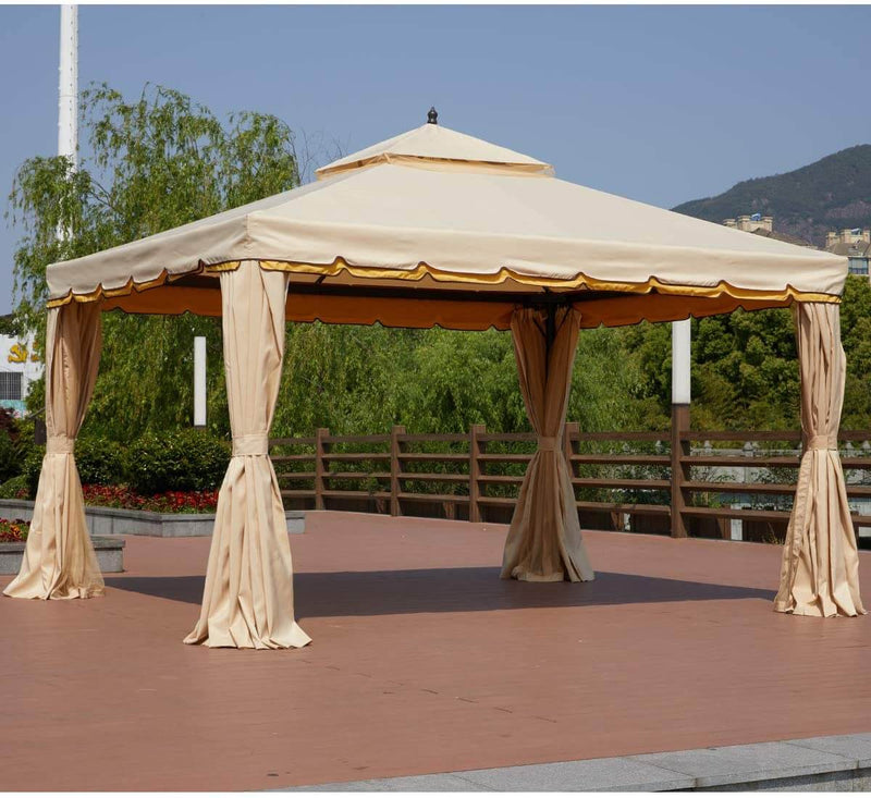10' x 12' Gazebo Double Roof Patio Gazebo Canopy Steel Frame with Netting & Shade Curtains, Beige
