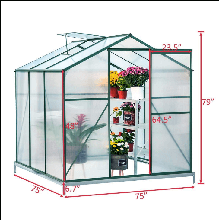 Walk-in Greenhouse 6'(L) x 6'(W) x 6.6'(H), UV Protection Greenhouse Garden Plant Hot House with Adjustable Roof Vent & Rain Gutters