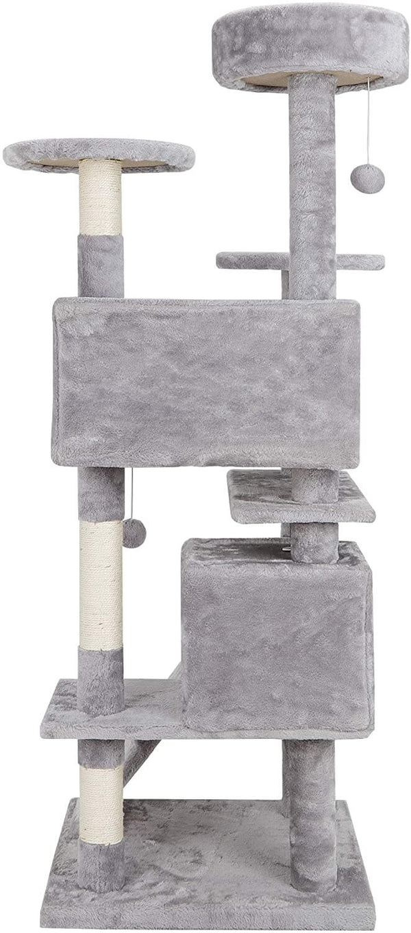 53 Inches Multi-Level Cat Tree Stand House Kittens Activity Tower (Light Grey)