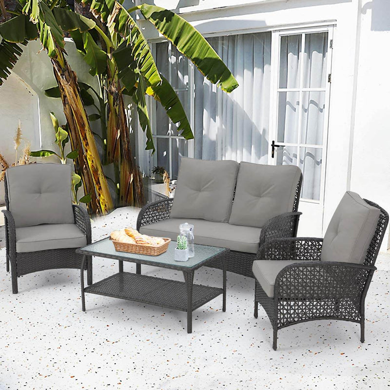 4 Pcs Outdoor Patio Furniture Sets Rattan Sofa Chair Wicker Set, Backyard Porch Balcony Furniture, Black