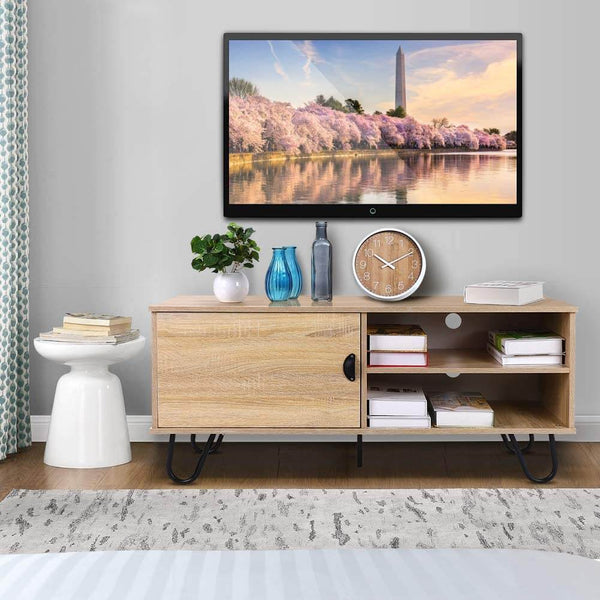 Modern TV Stand Wood TV Console Cabinet with 2 Storage Shelves and Hairpin Legs