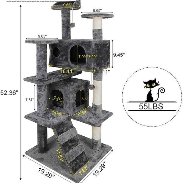 53 Inches Multi-Level Cat Tree Stand House Kittens Activity Tower (Grey)
