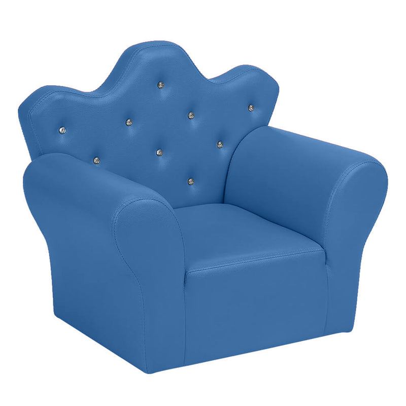 Kids Sofa With Upholstered Armchair with Ottoman Embedded Crystal Blue
