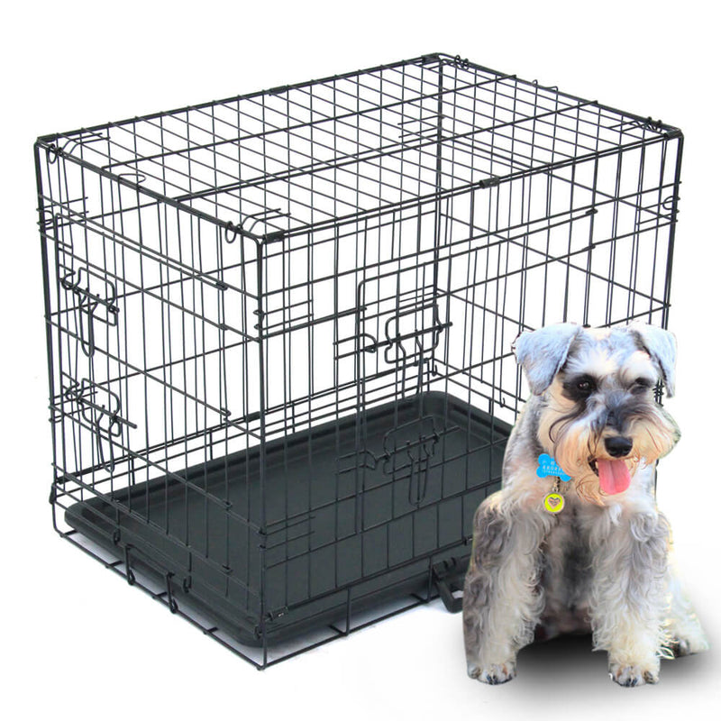 "24"" Pet Kennel Cat Dog Folding Steel Crates"