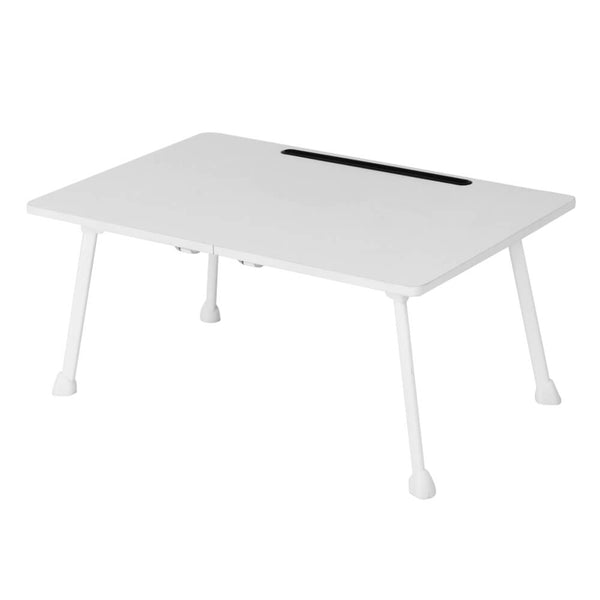 Folding White Laptop Desk for Bed with Slot, 23 inches