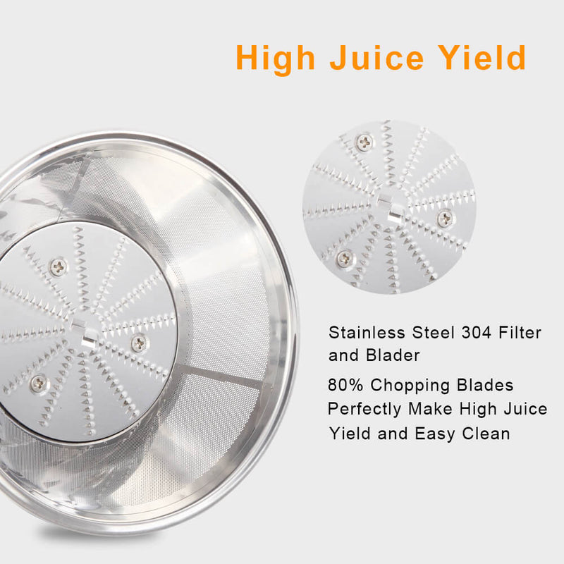 Large Caliber 600ML Juicer Machine Double Gear Easy to Clean Electric Juicer