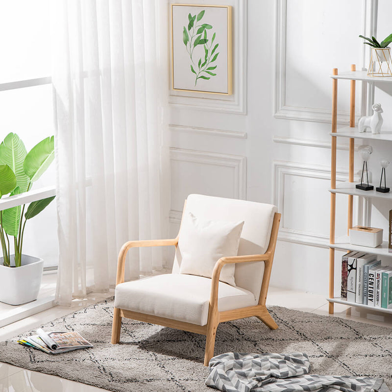 Lounge Arm Chair Mid Century Modern Accent Chair Wood Frame Armchair, Beige