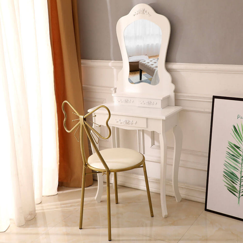 Irregular Single Mirror 3 Drawer Dressing Table White