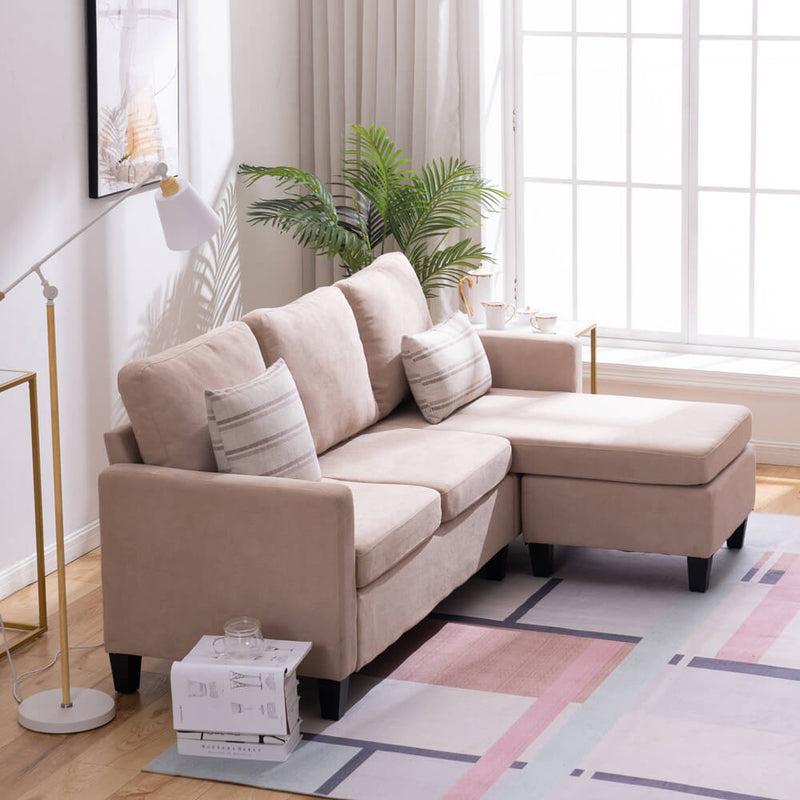 Convertible Sectional Sofa Couch, L-Shaped Couch with Modern Linen Fabric for Small Space, Beige