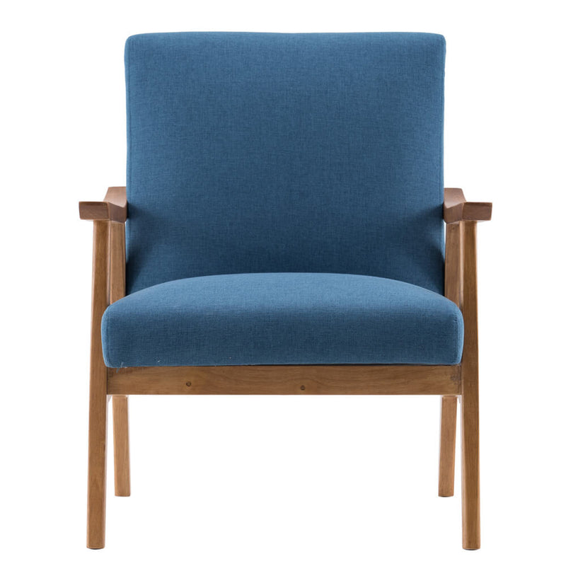 Mid-Century Modern Accent Armchair Solid Hardwood Upholstered Linen Lounge Chair, Navy Blue