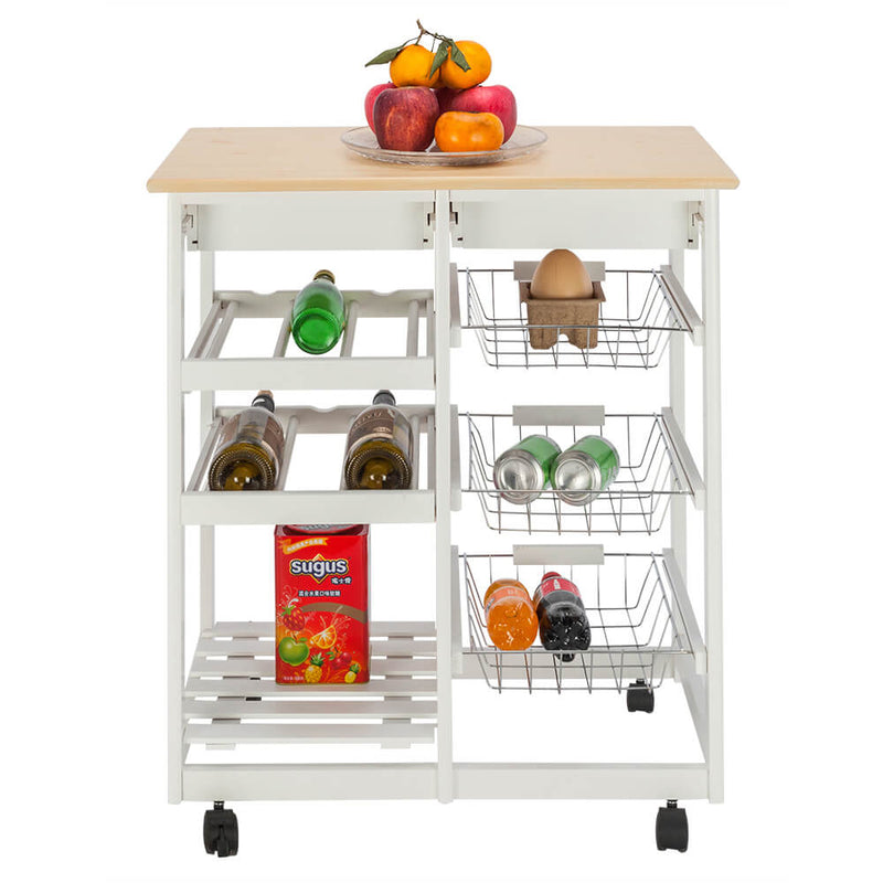 Moveable Kitchen Cart with Two Drawers & Two Wine Racks & Three Baskets White
