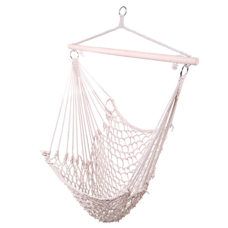 Hammock Swing Mesh Net, Hanging Rope Hammock Chair, Cotton Hanging Air Swing for Porch Yard Tree Bedroom, Beige