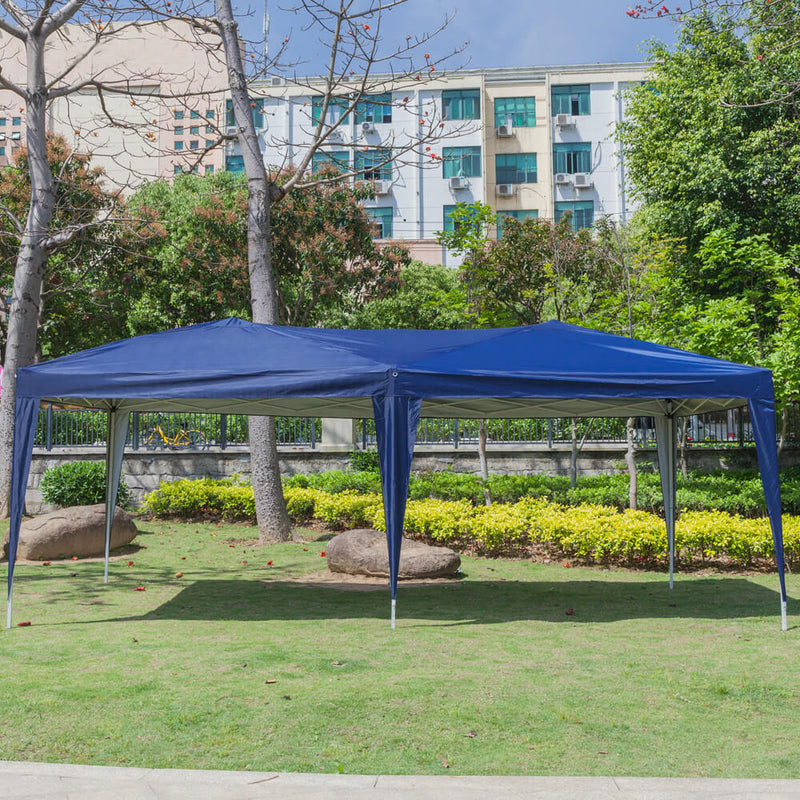 Homhum 10 x 20 ft Outdoor Camping Waterproof Folding Tent with Carry Bag Blue