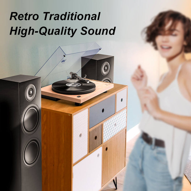 Record Player Built-in Phono Preamp and Belt Drive Vinyl Records, White Maple Wood