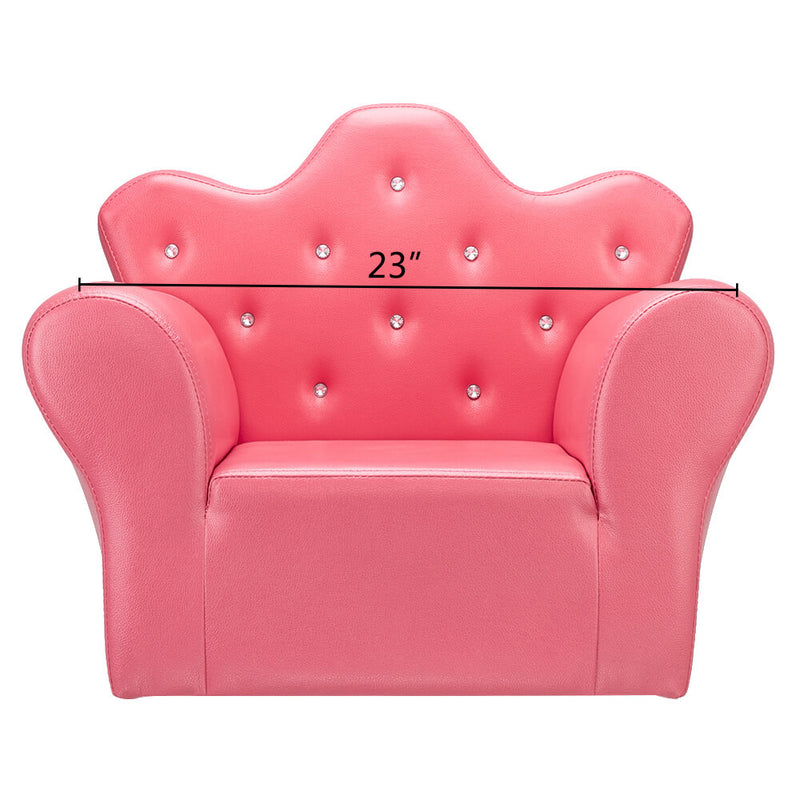 Kids Sofa With Upholstered Armchair with Ottoman Embedded Crystal Rose Red