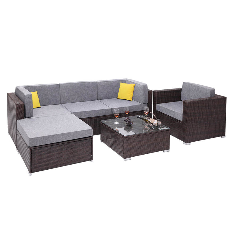 6 Pieces Patio PE Wicker Rattan Conversation Sofa Set