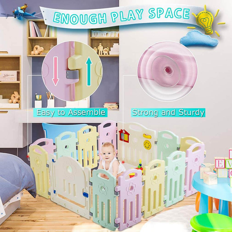 Baby Playpen Playard Infants Toddler 14 Panels Safety Kids Indoor Baby Fence