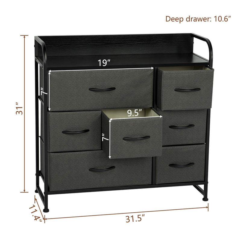 7 Drawer Dresser Organizer Fabric Storage with Steel Frame, Wood Top and Handle