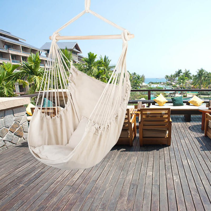 Hammock Swing, Hanging Rope Hammock Chair, Cotton Hanging Air Swing with Cushions for Porch Yard Tree Bedroom, Beige