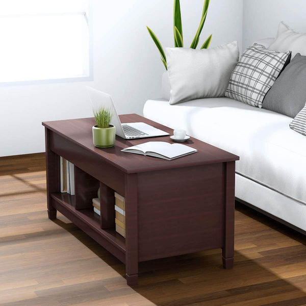 Coffee Table Lift Tabletop Wood Home Living Room Modern Lift Top Storage Brown