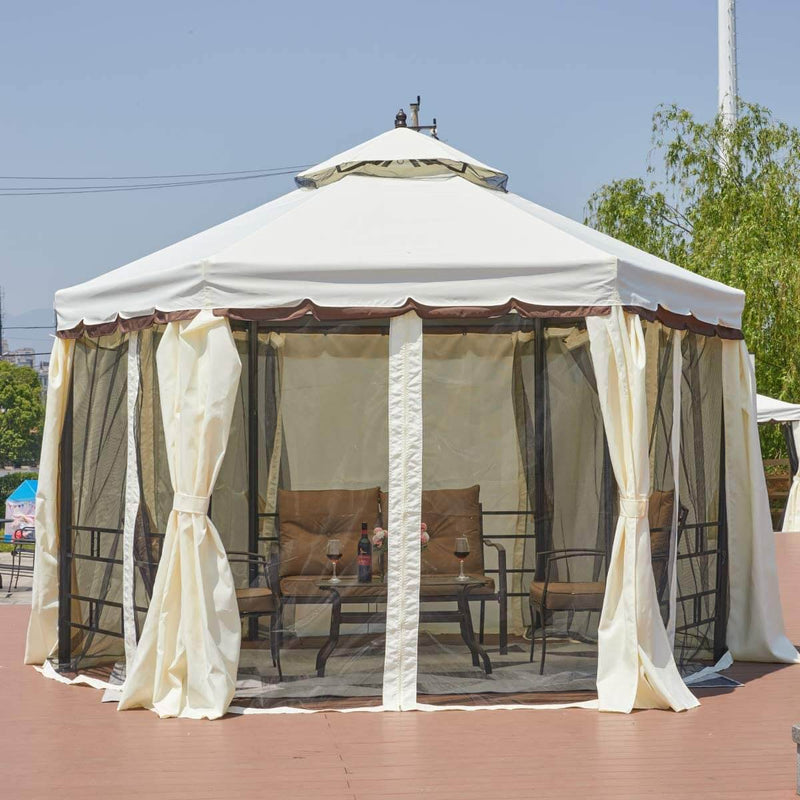 12FT Gazebo Canopy Hexagonal Double Roof Patio Gazebo Steel Frame Pavilion with Netting and Shade Curtains, Cream