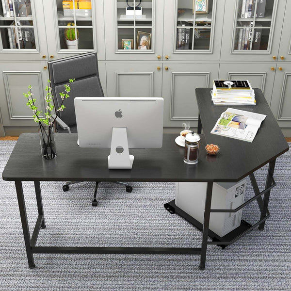 L-Shaped Desktop Computer Desk Black