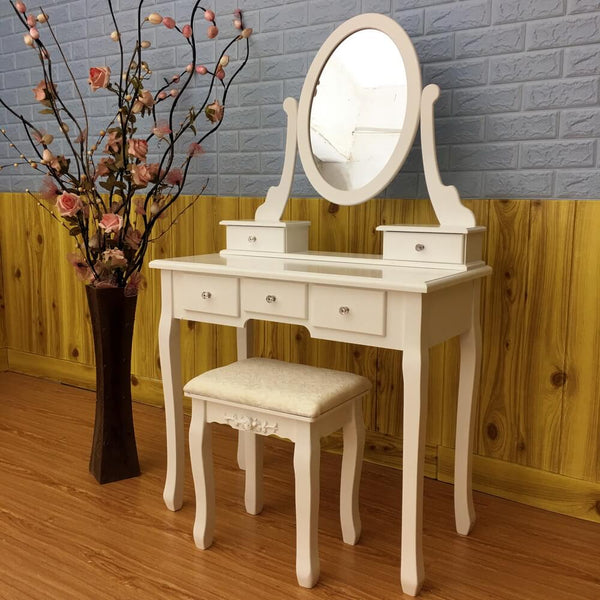 Single Mirror 5 Drawers Dressing Table, White