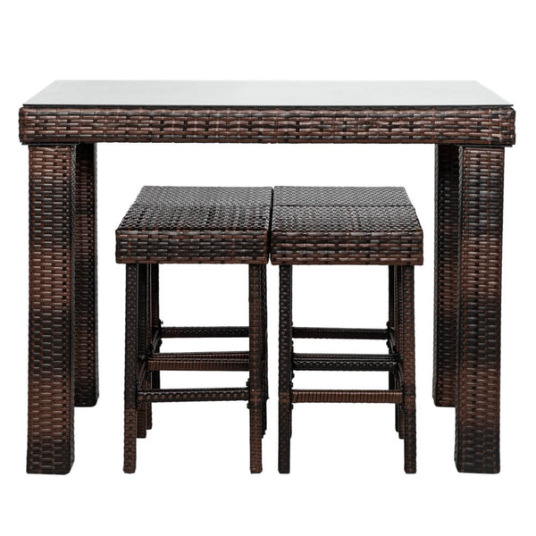 5 Pieces Wicker Patio Dining Set Bar Stool-Table and 4 Chairs Brown Gradient PE Rattan