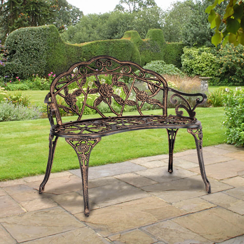 2-Seat Aluminum Outdoor Park Leisure Rose Chair 38 inches, Courtyard Decoration Bench