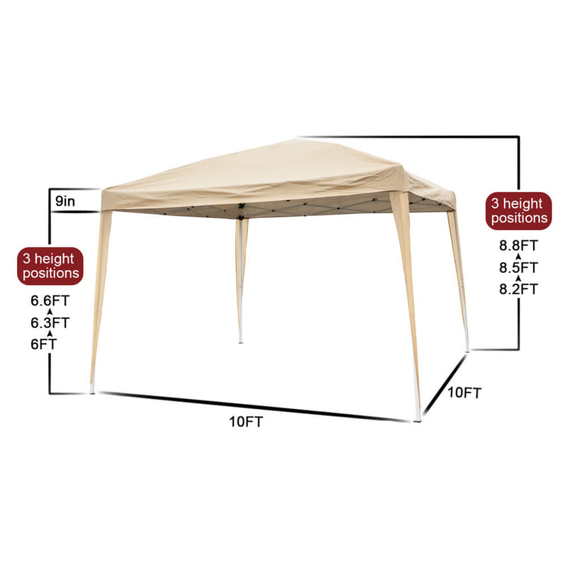 Homhum Outdoor Camping Canopy Tent 10 x 10 ft with Carry Bag Khaki