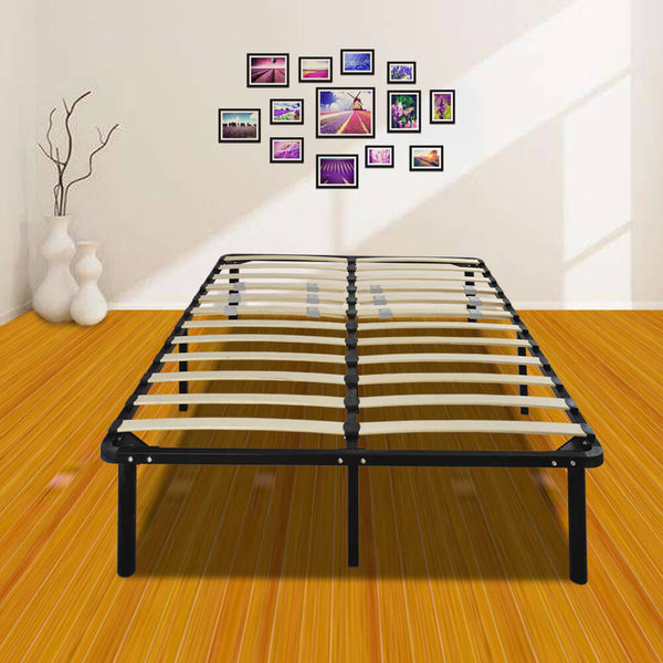 Wooden Slat and Iron Stand Queen Size Bed Black