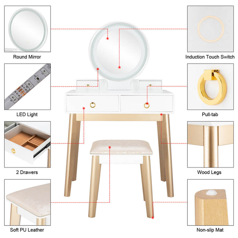Bedroom Light Luxury Real Wood Simple Makeup Table With Lamp Three Color Adjustable
