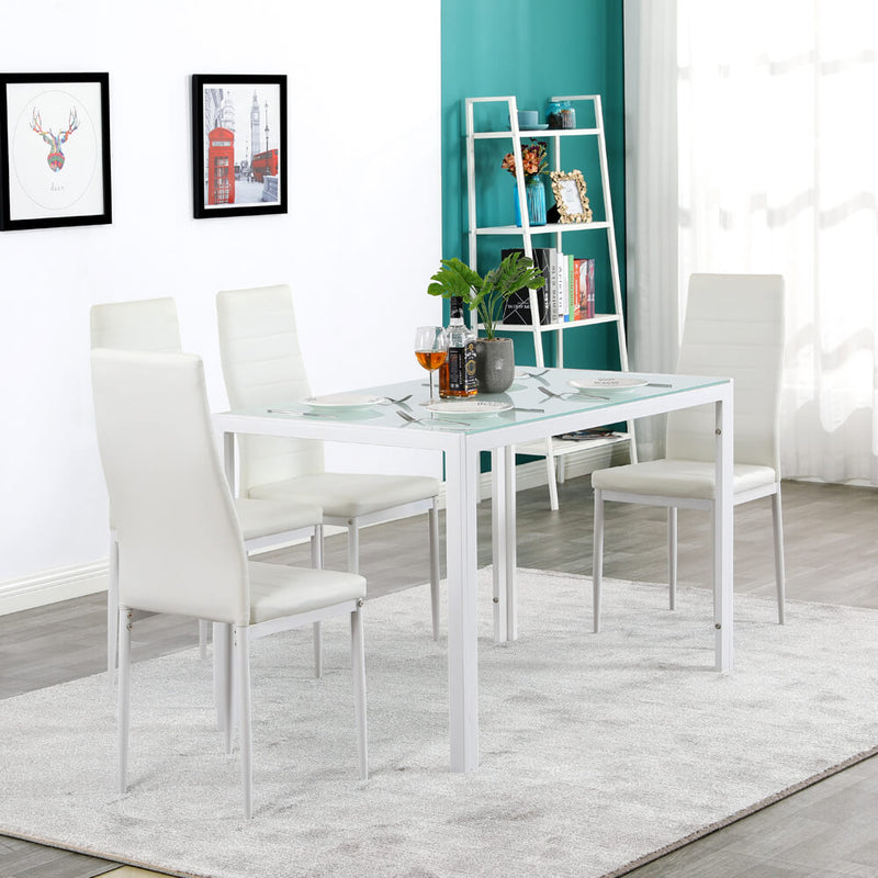 5 Piece Dining Set GlassTable and 4 Leather Chair for Kitchen Dining White