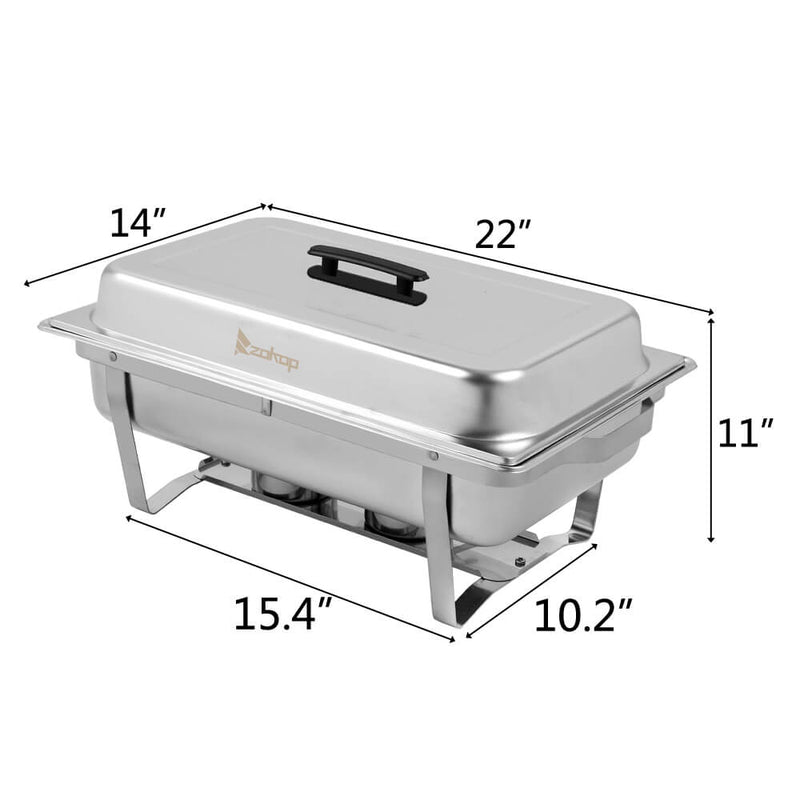 9L*2 Double Grid Each Set 2*1/2 Chafing Dish Food Warmer Rectangular Buffet Stove