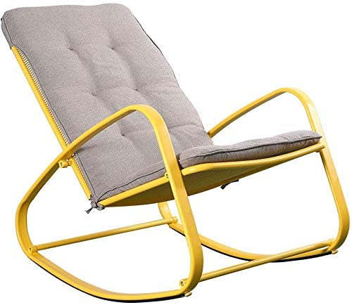 Outdoor Patio Rocker Chair Metal – Wide Ergonomic High Back Supportive Cushioned Fold Reclining Glider for Porch Balcony Yard Deck