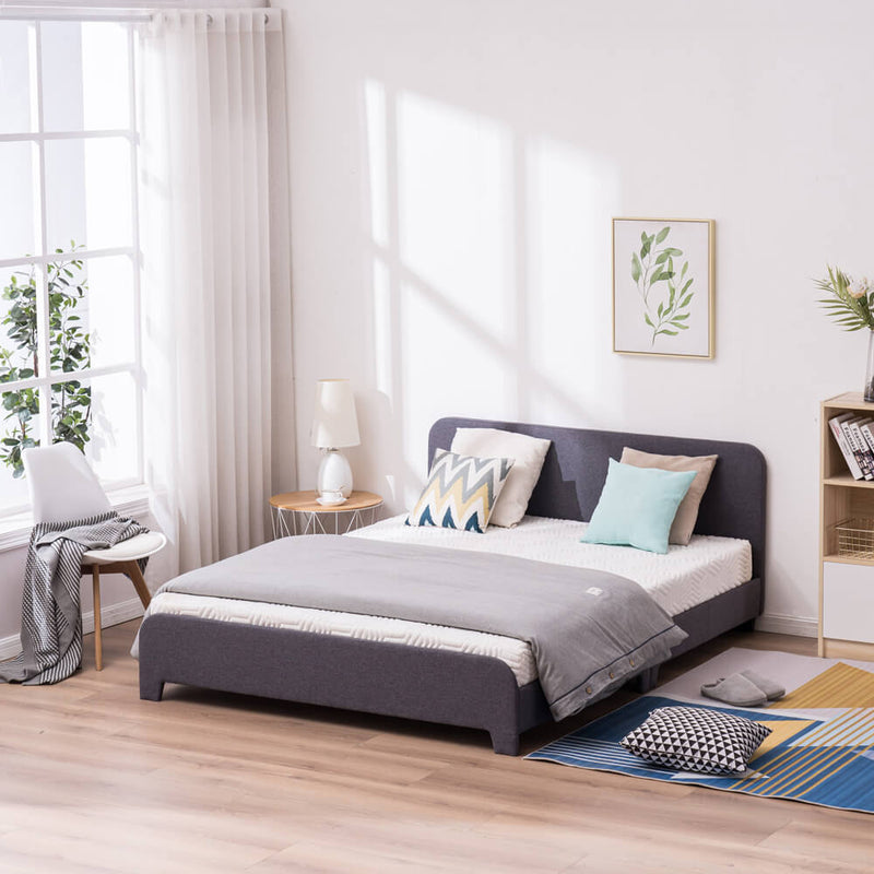 Upholstered Platform Bed Frame Mattress Foundation In Gray, Queen