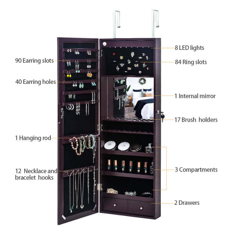Full Mirror Wooden Wall Mounted Jewelry Cabinets