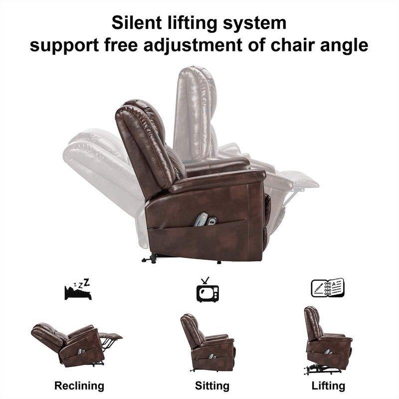 Power Lift Chair Electric Recliner for Elderly with Heat and Massage, 3 Positions, 2 Side Pockets, Faux Leather Recliners, Luxury Brown