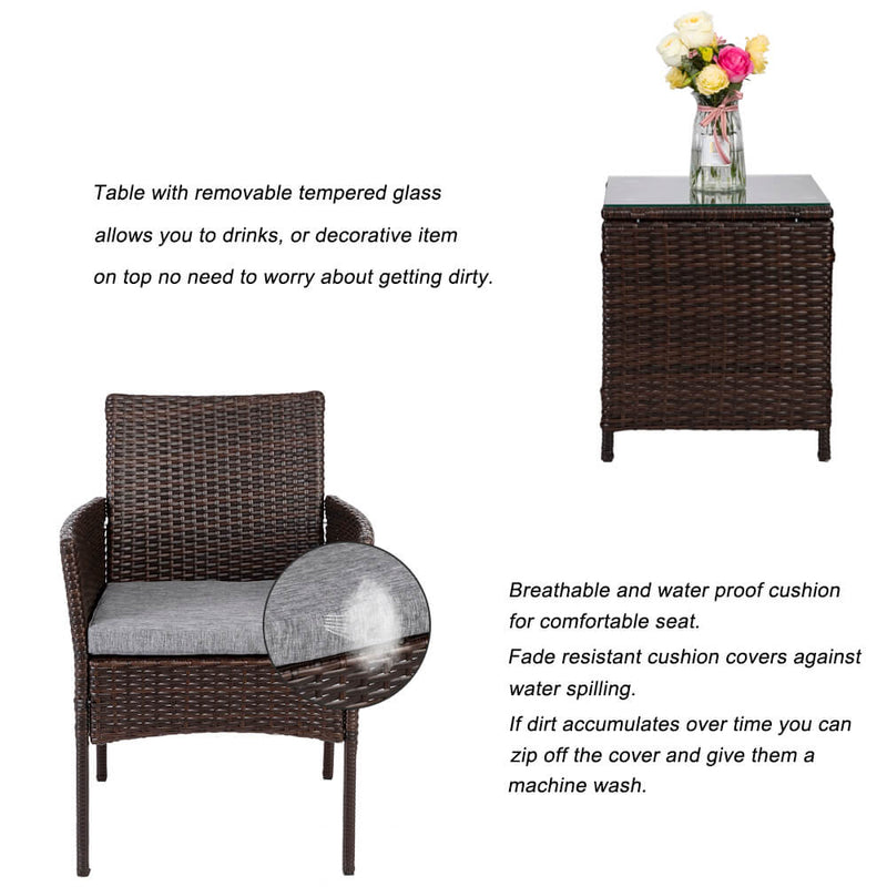 3 Pieces PE Rattan Wicker Chairs Set Cushion with Table Outdoor Garden Furniture Brown