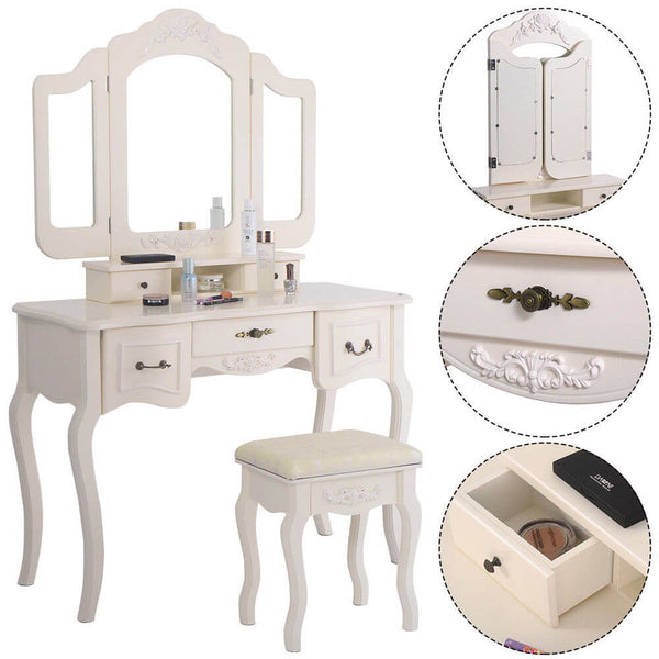 5 Drawer Tri-fold Mirror Dresser with Dressing Stool White