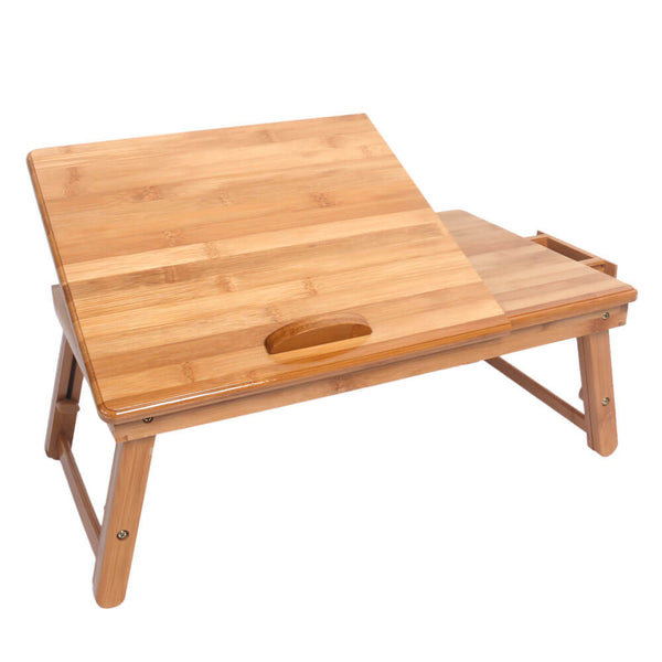 Trendy Adjustable Bamboo Computer Desk Wood Color, 21 inches