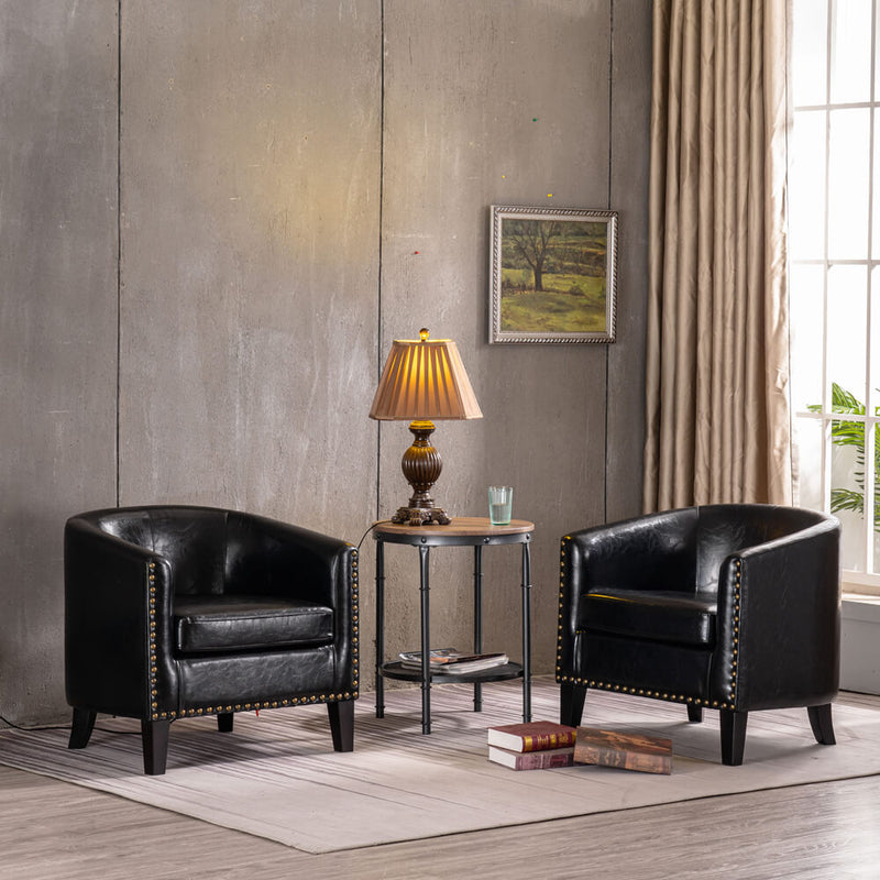 Modern Tub Barrel Accent Chair Upholstered Faux Leather with Nail Head, Black