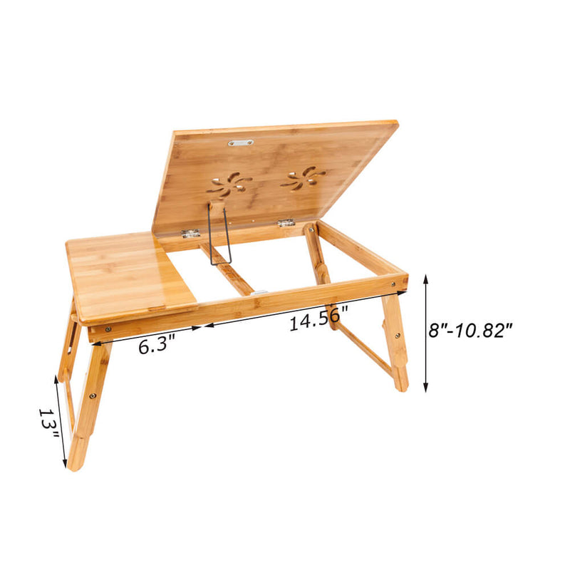 Double Flowers Engraving Adjustable Bamboo Computer Desk, 21 inches